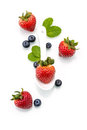 Fresh strawberry in white spoon healthy natural mint blueber diet blueberry Royalty Free Stock Photography