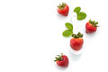 Fresh strawberry in white spoon healthy natural mint diet Royalty Free Stock Photography