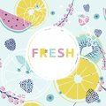 Fresh summer  background. Colorful hand drawn font, fruits, berr Royalty Free Stock Photo