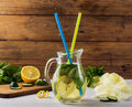 Fresh Summer Drink. Healthy detox water with lemon, cucumber and mint Royalty Free Stock Photo