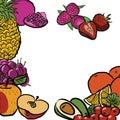 Fresh Summer Fruits in Circle