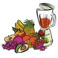 Fresh Summer Fruits and Mixer