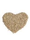 Fresh sunflower seeds creating a heart shape isolated on a white background photo of Royalty Free Stock Photography