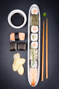 Fresh sushi with label on a slate Royalty Free Stock Image