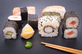 Fresh sushi with label on a slate Royalty Free Stock Images
