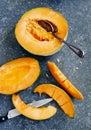 Fresh sweet orange melon Royalty Free Stock Photo