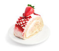 Fresh and sweet strawberry cake on white plate Stock Image