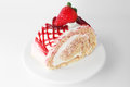Fresh and sweet strawberry cake on white plate Royalty Free Stock Photo