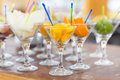 Fresh sweet tasty fruit cuts in gasses for party Stock Photography
