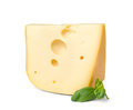 Fresh swiss cheese with leaf Royalty Free Stock Photo