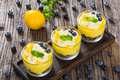 Fresh-tasting summer dessert - Lemon Cheesecake Mousse in cups Royalty Free Stock Photo