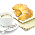Fresh and tasty croissant over white background Royalty Free Stock Photography