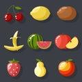 Fresh tasty fruit set apple cherry watermelon kiwi