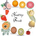 Fresh and tasty fruits background template