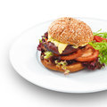 Fresh tasty hamburger isoltaed on white with geilled patty and cheese served with vegetables Royalty Free Stock Images