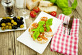 Fresh tasty italian bruschetta with tomato on table Stock Photo