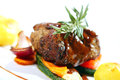 Fresh tasty meat with gourmet garnish restaurant Stock Photography