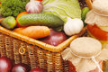 Fresh,tinned vegetables in a wattled box Royalty Free Stock Photos