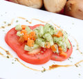Fresh tomato salad on a plate Royalty Free Stock Photo