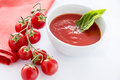 Fresh tomato soup tasty in bowl Stock Image