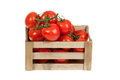 Fresh tomatoes in a wooden crate isolate on a white Royalty Free Stock Photo