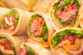 Fresh tortilla wraps with vegetables Royalty Free Stock Photo