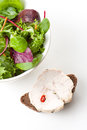 Fresh tossed green salad and bread Stock Photography