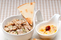 Fresh traditional arab chicken taboulii couscous hummus Royalty Free Stock Image