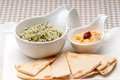 Fresh traditional arab taboulii couscous with hummus Royalty Free Stock Image
