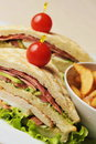 Fresh triple decker hotel club sandwich with french fries on side Royalty Free Stock Photo