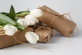 Fresh tulips and gift box over white background Royalty Free Stock Photo