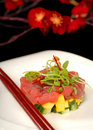 Fresh tuna, mango and cucumber tartare Stock Photography