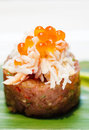 Fresh tuna tartar close up of dish with crab meat Stock Photography