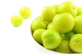 Fresh turkish can erik plum fruits in a small white bowl Royalty Free Stock Photo