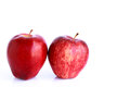 Fresh two red apples isolated on white background Stock Photo