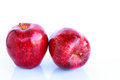 Fresh two red apples on white background Stock Images