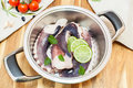 Fresh uncooked octopus in a kitchen with green basil and vegetable in stainless steel pot ready for barbecue or cooking viewed Royalty Free Stock Photos