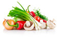 Fresh vegetable with greens on white background Stock Images