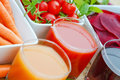 Fresh vegetable juices tomato juice carrot juice and beet juice made of organic vegetables Stock Image