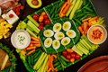 Vegetable platter especially for Super Bowl game fan Royalty Free Stock Photo