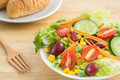 Fresh vegetable salad with bread on plate Stock Photography