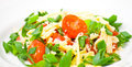 Fresh vegetable salad with cherry tomatoes green onions and cheese Royalty Free Stock Photography