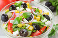 Fresh vegetable salad with corn and feta cheese Stock Image