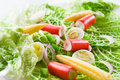 Fresh vegetable salad with crab sticks close up Royalty Free Stock Photos