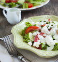 Fresh vegetable salad with feta cheese and tzatziki sauce small depth of field Royalty Free Stock Image