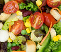 Fresh vegetable salad and fruit Royalty Free Stock Image