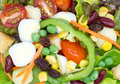 Fresh vegetable salad and fruit Royalty Free Stock Photos