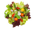 Fresh vegetable salad  isolated on white. Upper view. Royalty Free Stock Photo