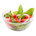 Fresh vegetable salad on white Stock Photos