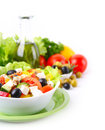 Fresh vegetable salad a white background Stock Photo